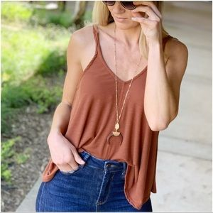 Copper knit ribbed swing top